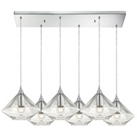 ELK 10440/6RC Geometrics 6 Light 9 inch Polished Chrome Pendant Ceiling Light in Rectangular Canopy