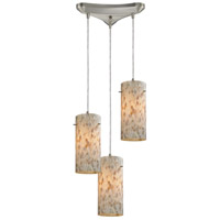 ELK 10442/3 Capri 3 Light 10 inch Satin Nickel Pendant Ceiling Light in Triangular Canopy