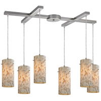 ELK 10442/6 Capri 6 Light 17 inch Satin Nickel Pendant Ceiling Light in Light Bar