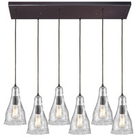 ELK 10446/6RC Hand Formed Glass 6 Light 32 inch Oil Rubbed Bronze Mini Pendant Ceiling Light in Rectangular Canopy Rectangular