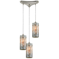 ELK 10447/3 Capri 3 Light 12 inch Satin Nickel Pendant Ceiling Light in Triangular Canopy