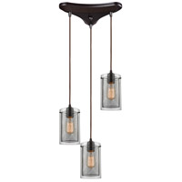 ELK 10448/3 Brant 3 Light 11 inch Oil Rubbed Bronze Mini Pendant Ceiling Light in Triangular Canopy, Triangular