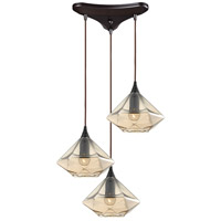 ELK 10450/3 Geometrics 3 Light 10 inch Oil Rubbed Bronze Pendant Ceiling Light