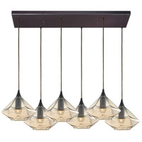 ELK 10450/6RC Geometrics 6 Light 30 inch Oil Rubbed Bronze Pendant Ceiling Light