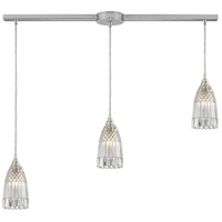 ELK 10458/3L Kersey 3 Light 5 inch Satin Nickel Mini Pendant Ceiling Light in Linear with Recessed Adapter, Linear