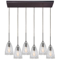 ELK 10459/6RC Hand Formed Glass 6 Light 32 inch Oil Rubbed Bronze Mini Pendant Ceiling Light in Rectangular Canopy Rectangular