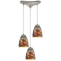 Abstractions 3 Light 10 inch Satin Nickel Pendant Ceiling Light in Cosmic Storm Glass