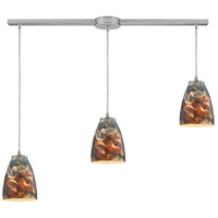 Abstractions 3 Light 36 inch Satin Nickel Pendant Ceiling Light in Cosmic Storm Glass