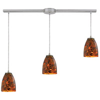 Abstractions 3 Light 36 inch Satin Nickel Pendant Ceiling Light in Lava Sunrise Glass