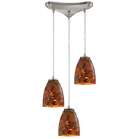 Abstractions 3 Light 10 inch Satin Nickel Pendant Ceiling Light in Lava Sunrise Glass