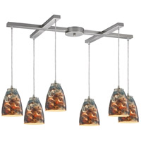 Abstractions 6 Light 33 inch Satin Nickel Pendant Ceiling Light in Cosmic Storm Glass