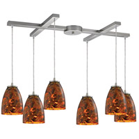 Abstractions 6 Light 33 inch Satin Nickel Pendant Ceiling Light in Lava Sunrise Glass