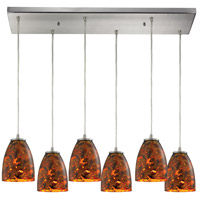 Abstractions 6 Light 30 inch Satin Nickel Pendant Ceiling Light in Lava Sunrise Glass