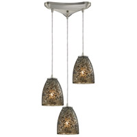 Fissure 3 Light 10 inch Satin Nickel Pendant Ceiling Light in Smoke Glass