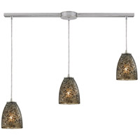 Fissure 3 Light 36 inch Satin Nickel Pendant Ceiling Light in Smoke Glass