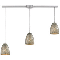 Fissure 3 Light 36 inch Satin Nickel Pendant Ceiling Light in Silver Glass