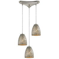 Fissure 3 Light 10 inch Satin Nickel Pendant Ceiling Light in Silver Glass