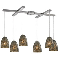 Fissure 6 Light 33 inch Satin Nickel Pendant Ceiling Light in Smoke, Light Bar