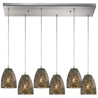 Fissure 6 Light 30 inch Satin Nickel Pendant Ceiling Light in Smoke Glass