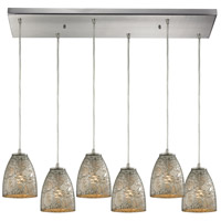 Fissure 6 Light 30 inch Satin Nickel Pendant Ceiling Light in Silver Glass