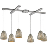 Fissure 6 Light 33 inch Satin Nickel Pendant Ceiling Light in Silver Glass