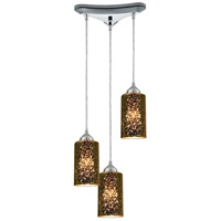ELK 10505/3 Illusions 3 Light 10 inch Polished Chrome Pendant Ceiling Light in Incandescent, Triangular Canopy