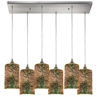 ELK 10508/6RC Illusions 6 Light 30 inch Satin Nickel Pendant Ceiling Light in Rectangular Canopy