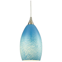 ELK 10510/1SKY Earth 1 Light 5 inch Satin Nickel Pendant Ceiling Light in Whispy Cloud Sky Blue, Incandescent