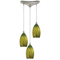 ELK 10510/3GRS Earth 3 Light 11 inch Satin Nickel Pendant Ceiling Light in Sunlit Grass Green, Incandescent, Triangular Canopy