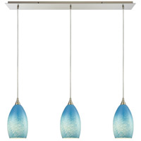 Earth 3 Light 36 inch Satin Nickel Pendant Ceiling Light in Whispy Cloud Sky Blue