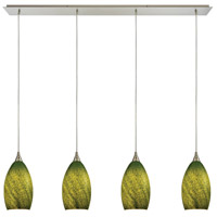 ELK 10510/4LP-GRS Earth 4 Light 46 inch Satin Nickel Linear Pendant Ceiling Light in Sunlit Grass Green, Incandescent
