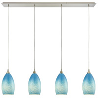 Earth 4 Light 46 inch Satin Nickel Pendant Ceiling Light in Whispy Cloud Sky Blue