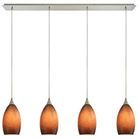 ELK 10510/4LP-SND Earth 4 Light 46 inch Satin Nickel Linear Pendant Ceiling Light in Textured Sand, Incandescent