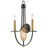Dione 2 Light 15 inch Brushed Antique Brass with Oil Rubbed Bronze Wall Sconce Wall Light