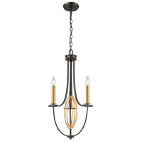Dione 3 Light 12 inch Oil Rubbed Bronze with Brushed Antique Brass Chandelier Ceiling Light