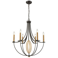 ELK 10515/6 Dione 6 Light 25 inch Brushed Antique Brass with Oil Rubbed Bronze Chandelier Ceiling Light