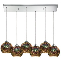 ELK 10517/6RC Illusions 6 Light 30 inch Polished Chrome Mini Pendant Ceiling Light in Rectangular Canopy Rectangular