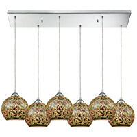 ELK 10518/6RC Illusions 6 Light 30 inch Polished Chrome Mini Pendant Ceiling Light in Rectangular Canopy Rectangular