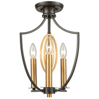 Dione 3 Light 9 inch Oil Rubbed Bronze with Brushed Antique Brass Semi Flush Mount Ceiling Light