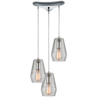 Ribbed Glass 3 Light 11 inch Polished Chrome Pendant Ceiling Light