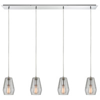 Ribbed Glass 4 Light 46 inch Polished Chrome Pendant Ceiling Light