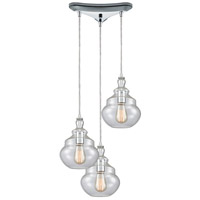 ELK 10562/3 Tabor 3 Light 12 inch Polished Chrome Mini Pendant Ceiling Light in Triangular Canopy Triangular