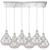 ELK 10562/6RC Tabor 6 Light 32 inch Polished Chrome Mini Pendant Ceiling Light in Rectangular Canopy Rectangular