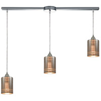ELK 10565/3L Plated Rings 3 Light 38 inch Polished Chrome Linear Pendant Ceiling Light in Linear with Recessed Adapter