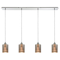 ELK 10565/4LP Plated Rings 4 Light 46 inch Polished Chrome Mini Pendant Ceiling Light in Linear, Linear