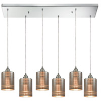 ELK 10565/6RC Plated Rings 6 Light 32 inch Polished Chrome Mini Pendant Ceiling Light in Rectangular Canopy, Rectangular