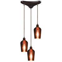 ELK 10571/3 Hammered Glass 3 Light 12 inch Oil Rubbed Bronze Pendant Ceiling Light in Triangular Canopy