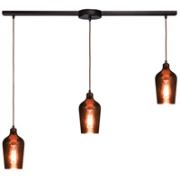 Hammered Glass 3 Light 38 inch Oil Rubbed Bronze Linear Pendant Ceiling Light in Linear with Recessed Adapter