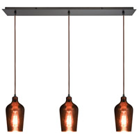 Hammered Glass 3 Light 36 inch Oil Rubbed Bronze Linear Pendant Ceiling Light