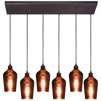 ELK 10571/6RC Hammered Glass 6 Light 32 inch Oil Rubbed Bronze Mini Pendant Ceiling Light in Rectangular Canopy Rectangular